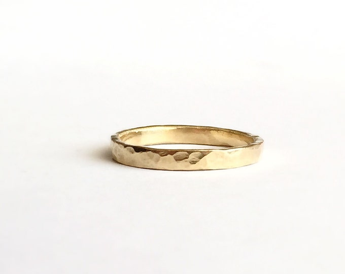Gold Thin Ring - Simple Wedding Band - 18 Carat - Hammered Texture - Yellow Gold - Unisex