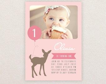 Girls Birthday Party Invitations. Deer & balloon. I Customize, You Print.