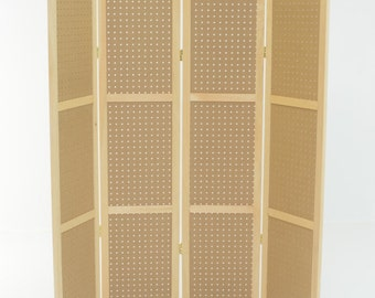 "Pegboard Display - 4 panels, hinged to fold flat. 34-1/4"" to 68"" Tall. Ships UPS. Fits Standard 1/4"" pegboard hooks and access."