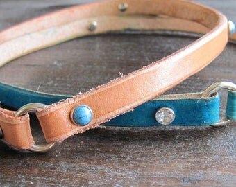 Leather Dog Tag Collar - Greyhound Collar - Sighthound Collar