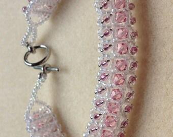 Beaded Swarovski Crystal Bracelet-Light Pink-8 in.