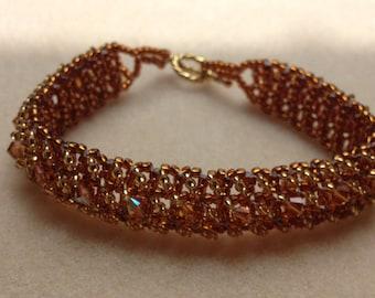 Beaded Swarovski Crystal Bracelet-Gold/Orange-8 in.