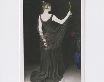 w.t. dannat 'a blond profile' print.  19th century print, photogravure, w.t. dannat, a blond profile print, art print,
