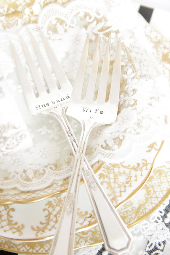 Wedding Gift Husband To Wife : Wedding Cake Forks, Wedding Gift, Husband & Wife - Pair of Vintage ...