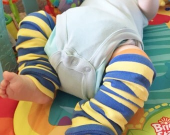 Bright Stripe Leg Warmers for baby, blue yellow and orange baby leg warmers, hipster baby girl and hipster baby boy leg warmers, unique!