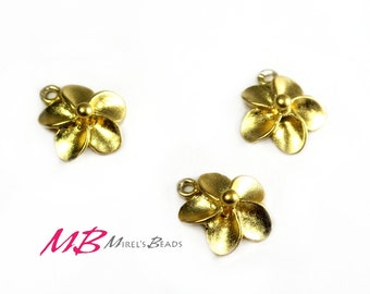 Gold Over 925 Sterling Silver Plumeria Flower Charm, Summer Charms Pendant, Hawaiian Flower Charm