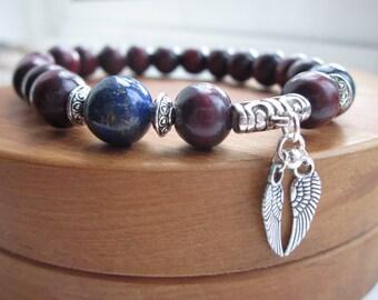 Mens gift, wood bead bracelet, beaded, mens jewellery, rosewood bracelet, mens wooden bracelet, September, lapis lazuli, jewellery uk