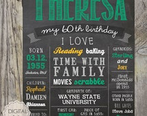 Personalized 60th birthday poster - Custom 60th Birthday Gift for husband wife or parents 1955 - DIGITAL FILE!