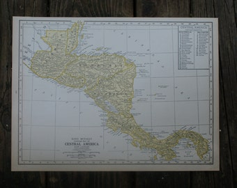 1928 - Central America Map - Large Antique Map - Beautiful Map Central America - Large Vintage Map - Colorful Atlas Map - Gift - Home Decor