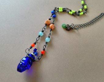 Rustic Bohemian Skull Bottle Necklace, Murano Glass Skull Head Bottle, Gemstone Beaded, Boho, Gypsy, Oxidized Copper, Blue, Orange, Yellow