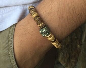 Men's bracelet Pyrite Bracelet Wood Bracelet