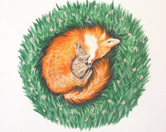 Fox Print, Nursery Art, Fox Art, Nursery Print, Fox and Rabbit Print, Fox Painting, Sleeping Fox, Sleeping Animals, Fox Illustration
