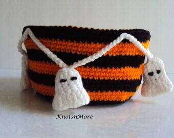 Halloween Bowl - Halloween Basket - Ghost Bowl - Ghost Basket - Crochet Ghost Bowl - Halloween Decor - Crochet Halloween Bowl - Ghosts