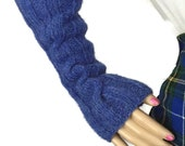 Outlander Scottish Blue Fingerless Gloves - Claire Gauntlets Castle Leoch Texting Arm Warmers Diana Gabaldon Mitts FREE SHIPPING