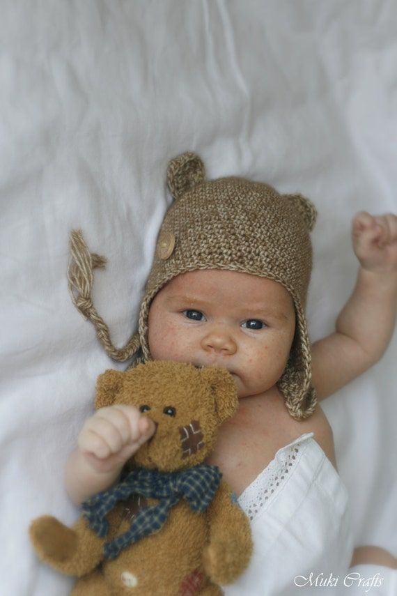 CROCHET PATTERN bear earflap hat Ferdinand (newborn / baby / toddler/ child/ woman sizes)