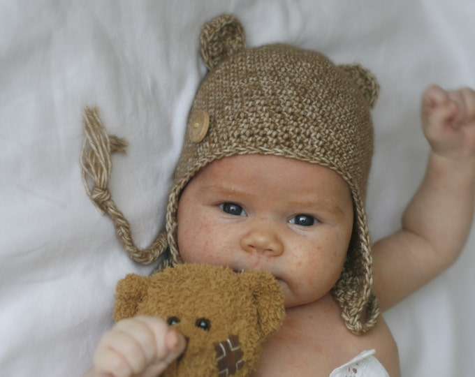 CROCHET PATTERN bear earflap hat Ferdinand (newborn / baby / toddler/ child/ woman sizes)