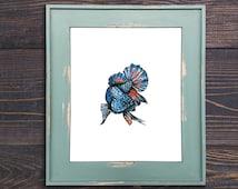 Fish Print, Betta Fish Art, Fighting Fish Art, Fish Decor, Small Art, Fish Print, Watercolor Print, Blue Fish