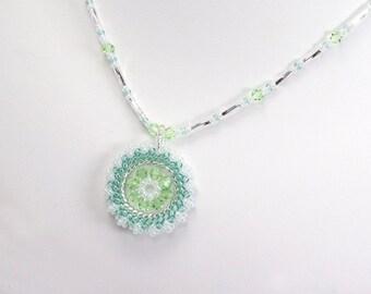 Swarovski crystal pendant necklace, mint necklace, green beaded pendant necklace, circle pendant necklace, seed bead pendant circular, 211-1