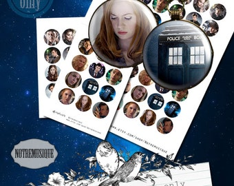 DR WHO Digital collage sheet 1inch Us Letter + 4x6 sheet,craft supplies,printable,pendants,magnets,circles,party stickers,round circles