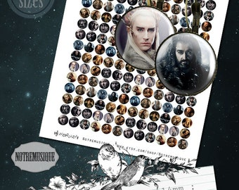 HOBBIT Digital collage sheet 12mm,14mm,16mm,18mm and 20mm,printables,bottlecaps,pendants,magnets,party stickers,earrings, craft,jewelry