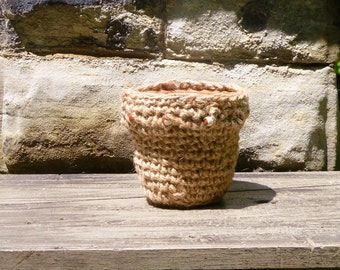 Jute Clay Flower Pot with Red and White Clay Beads - Crochet