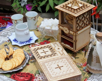 The Carlyle: Tea Box And Cookie Jar. A Functional Centerpiece And Tea Party Essential! Wooden 3D Puzzle Kit, Assemble Yourself And Enjoy!