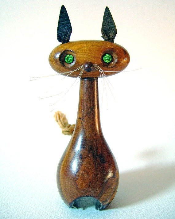 Vintage 1960s Cute Kitsch Wooden Cat Bottle Opener Barware