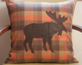 Appliqued Faux Leather Moose on Wool Flannel Plaid Fabric Pillow