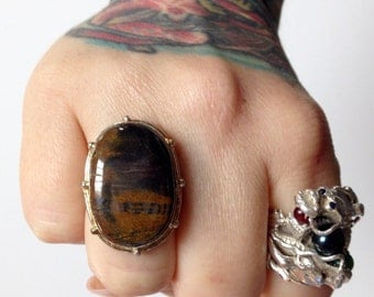 Mahogany Obsidian + Sterling Silver .925 Statement ring sz 7 1/2
