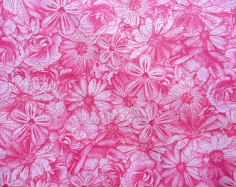 Pink Daisy Fabric, RJR Spring Symphony 1819, Dan Morris,  Pink Flower Fabric, Pink Floral Quilt Fabric, Cotton