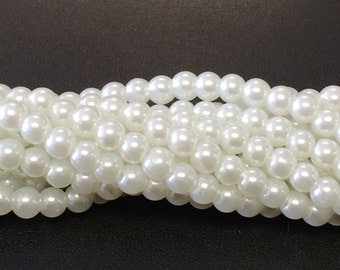 6MM White    Glass Pearls Beads