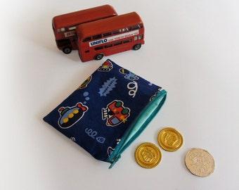 Blue zipper pouch, boys coin purse, boys zipper pouch, kids blue purse, gadget bag, vehicles