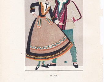 French traditional dress France peasant costume Kathleen Mann vintage book plate french folklore Europe