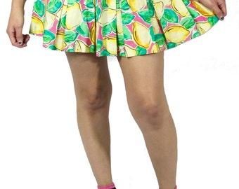 Lemon Print Pleated Skirt, Colorful Pleated Skirt, Lemon Pleated Skirt, Lemon Print Cheerleader Skirt, Lemon Print School Girl Skirt