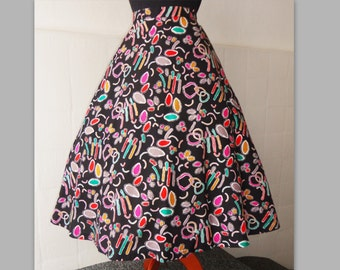 80s Atomic Print Skirt Goes 50s // Multicolor // Size 38 // 100%Cotton