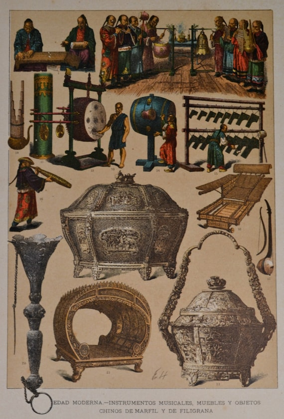 China furniture, objects and musical instruments in the Early Modern Period. Antique print,1894.  121 years old print.  11,5 x 8,4 inches.