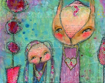 Love Shelters, original painting 8x8in, mixed media art painting