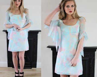 20% OFF 1970's QUAD Aqua dress with Waterfall sleeves