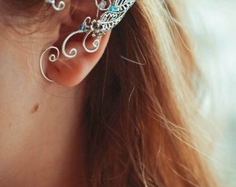 Blue Topaz Elf Elven Ears Earcuffs