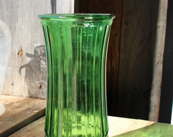 "Vintage 10"" Tall Dark Green Hoosier Glass Column Vase 4089-G"