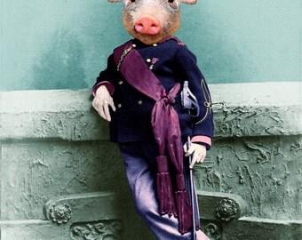 Soldier PIG BOY Piglet child Victorian portrait altered digital art print anthro anthropomorphic mixed media collage