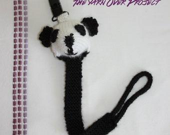 Hand-Knit Panda Pacifier Clip - Knit Pacifier Leash - Pacifier Clip