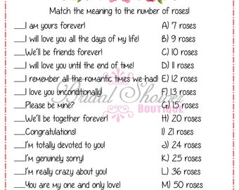 Rose Whispers/ Messages Bridal Shower Game CORAL -Fun, Detailed, & Cute!