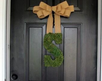 Moss Letter for Door - Custom Hanging Moss Initial - Moss Monogram with Burlap Bow - Front door wreath -  summer wreath - monogram letter