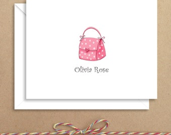 Pink Purse Note Cards - Girl Folded Note Cards - Personalized Children's Stationery - Thank You Notes - Illustrated Note Cards