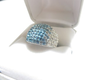 Sterling Silver Rhinestone Dome Ring