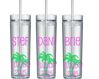 Beach Bachelorette Tumblers, Palm Tree, Girl's Weekend, Bachelorette Party, Bachelorette Cups, Summer Vacation, Summer