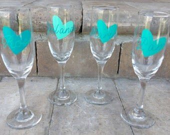 Personalized Champagne Glasses, Champagne Flutes, Maid of Honor Toasting Flute, Bridesmaid Toasting Flutes, Bridesmaid Champagne Glasses