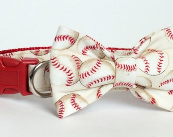Baseball on Red Dog Collar Bow Tie set