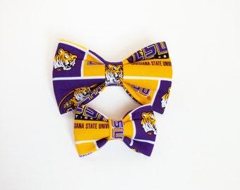 LSU Dog bow tie, Cat bow tie, fabric bow tie for dog/cat collars, pet bow tie, collar bow tie, wedding bow tie